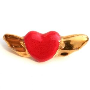 Winged Heart Red & Gold Ceramic Brooch Pin